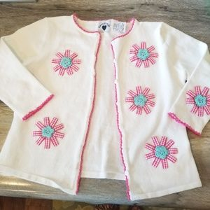 Hartstrings White Cardigan flowers pink